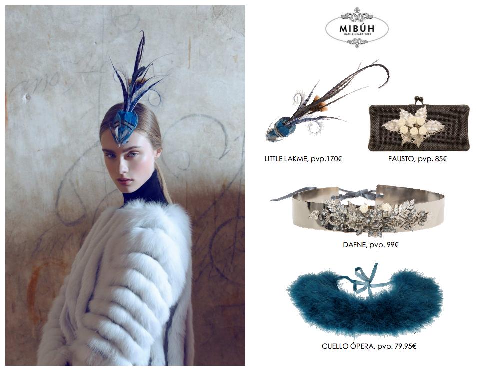 Complementos de fiesta Mibúh para la próxima temporada otoño - invierno 2014 - look plateado y azul