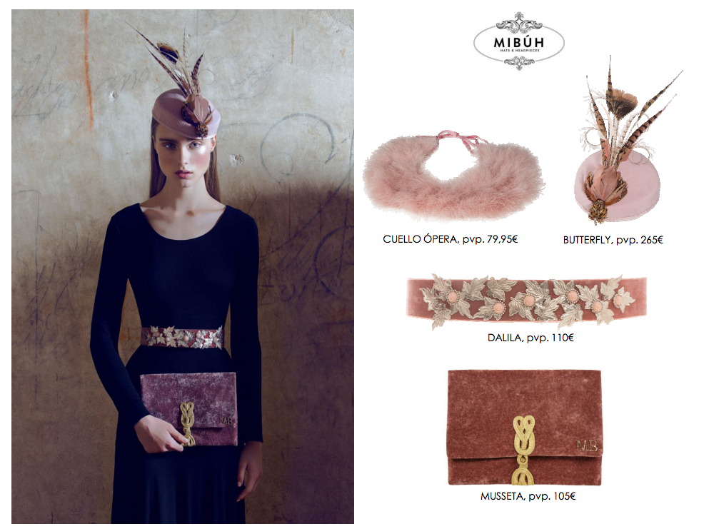 Complementos de fiesta Mibúh para la próxima temporada otoño - invierno 2014 - look rosa palo